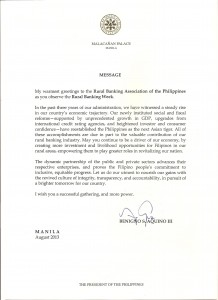 Pres. Aquino's Message for the Rural Banking Week