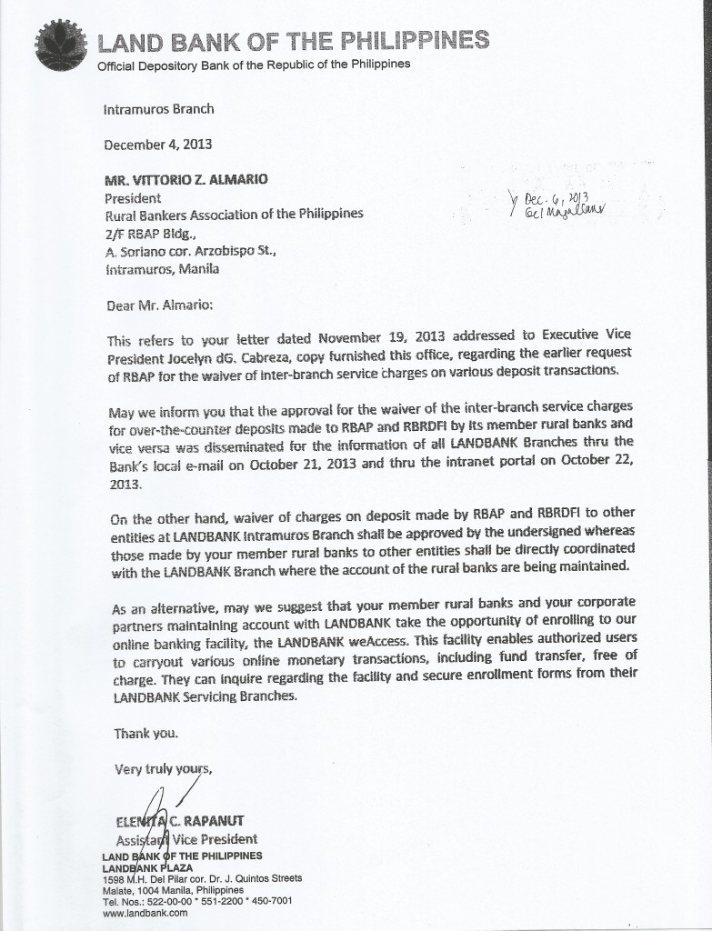 Land Bank response to Inter-branch fees