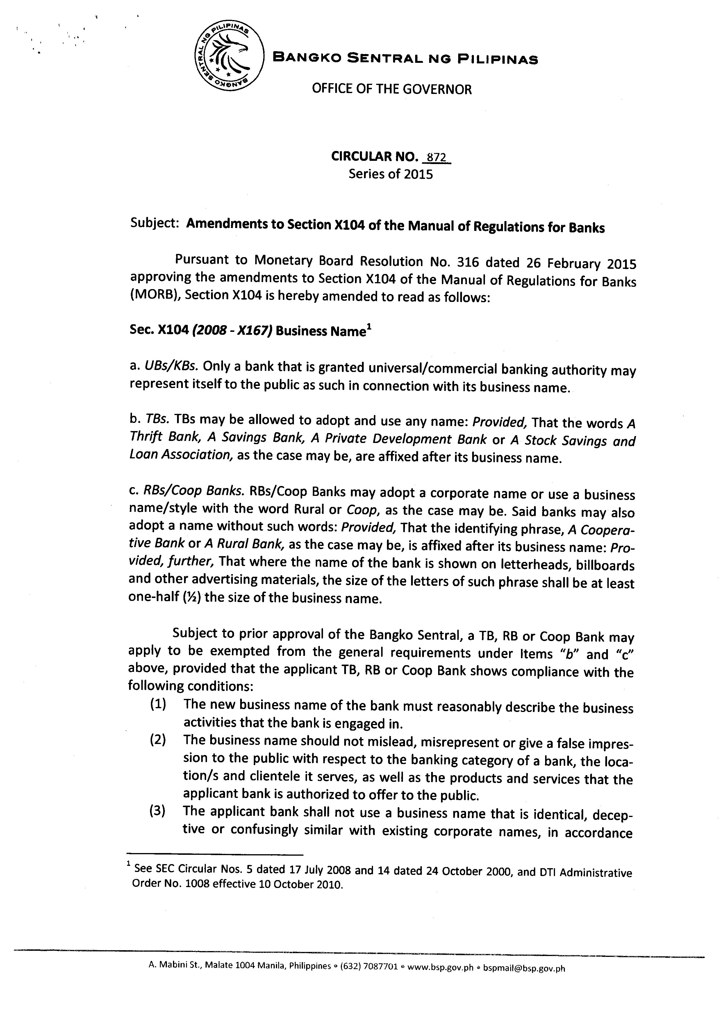 bsp circular no 872 amendments to section x104 of the manual of