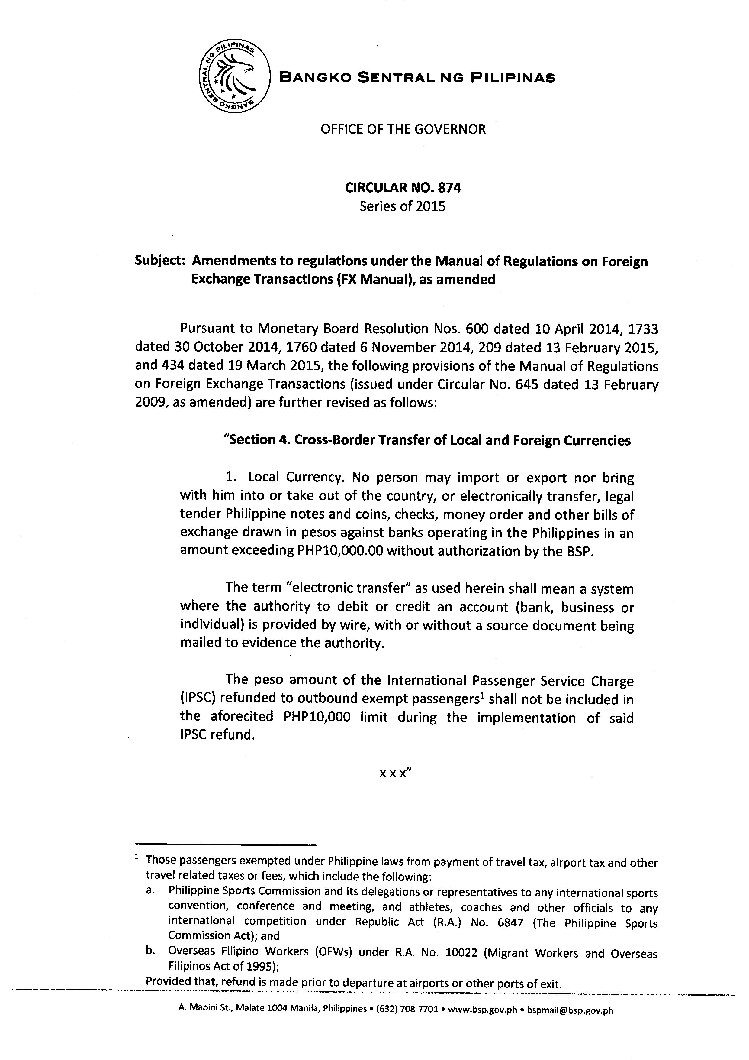 bsp circular no  874  amendments to regulations under the manual of regulations on foreign