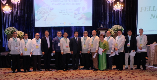The 2016-2017 RBAP Board of Directors with BSP Gov. Amando M. Tetangco, Jr. and RBRDFI Chairman Enrique P. Abellana.