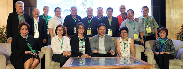 "Rural bankers with Senator Juan Edgardo ""Sonny"" M. Angara during the RBAP National Convention"