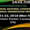 65th Annual National Convention and General Membership Meeting  May 21-22, 2018 ( Monday - Tuesday ) SMX Convention Center, Lanang, Davao City