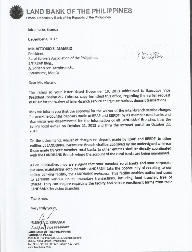 Land Bank response to Inter-branch fees