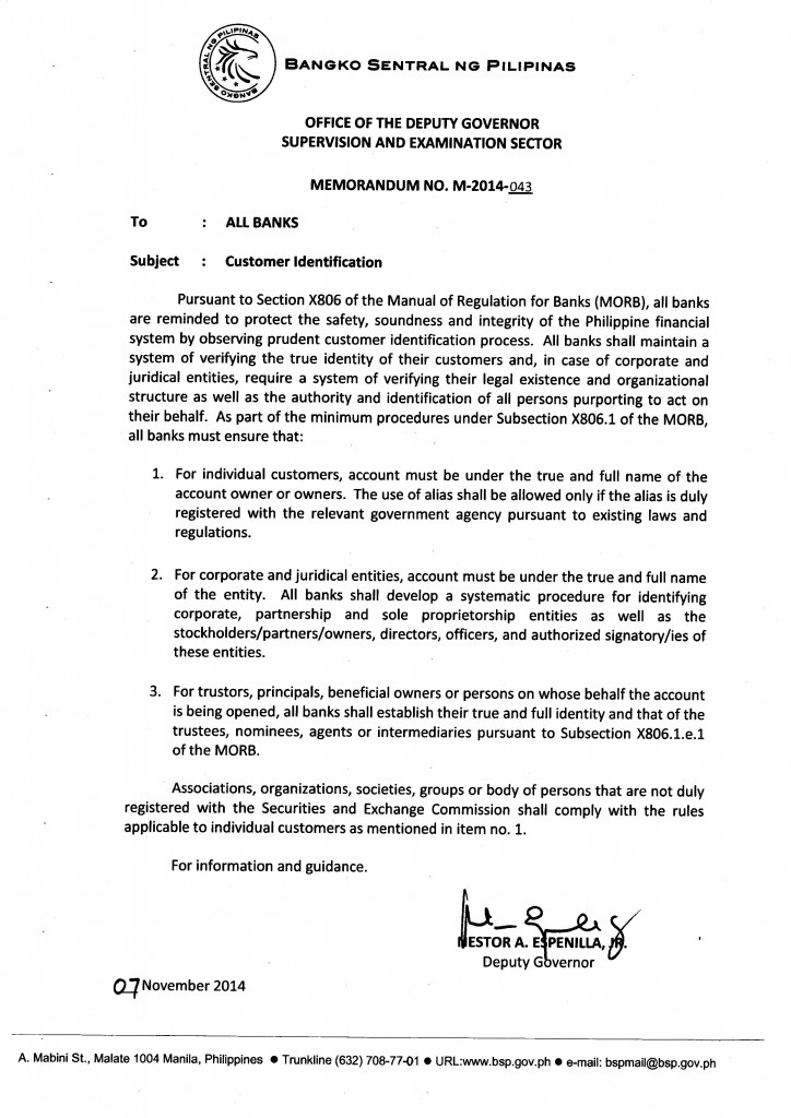 BSP Memorandum No. M-2014-043: Customer Identification